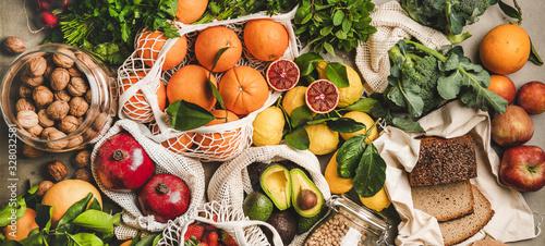 Photo Assortment of vegan, vegetarian, balanced diet foods