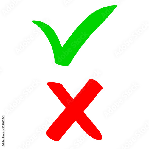 hand drawn of Green checkmark and Red cross isolated on white background Canvas Print