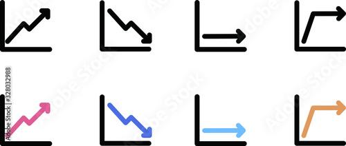 上昇、下落の線グラフのアイコン、イラスト、素材、カラー、白黒 Fototapet