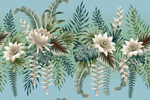 Tropical Vintage Botanical Landscape, Lotus Flower, Palm Tree, Plant, Palm Leaves Floral Seamless Pattern Gradient Background. Exotic Jungle Wallpaper.
