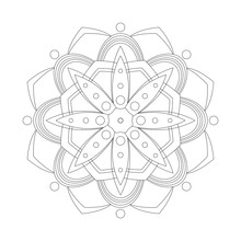 Mandala. Coloring Book Antistress. Template For Mehendi. Oriental Drawing. Islam, Arabic, Indian, Moroccan, Spanish, Turkish, Pakistani, Chinese. Vector Illustration. Isolated On A White Background.