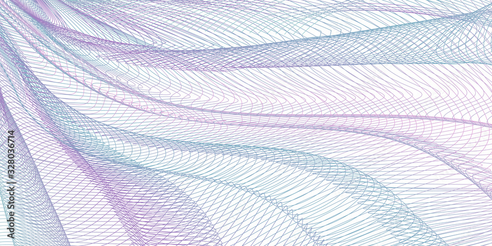 Fototapeta Turquoise, purple pleated net, draped textile. Line art pattern, abstract design. Tangled thin lines, colored curves. Vector striped background. Wavy fabric, fishing net, mesh textured effect. EPS10