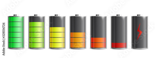 Foto Various level energy batteries set, realistic vector illustration isolated
