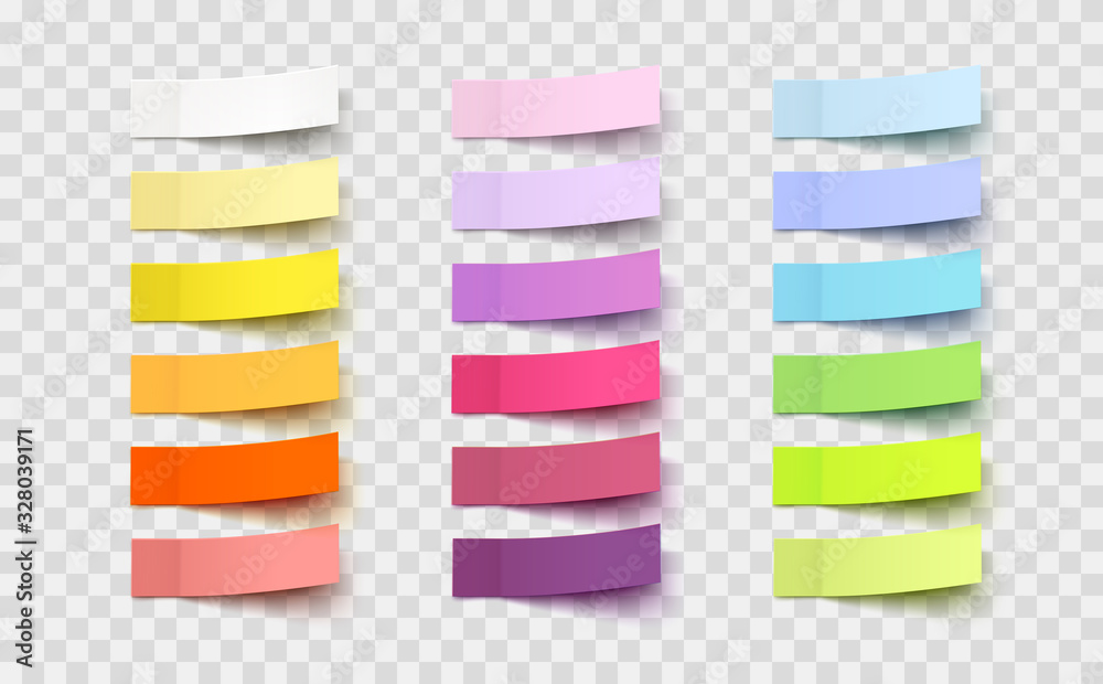 Fototapeta Post note stickers isolated on transparent background. Vector colorful paper sticky tapes set with shadow template..