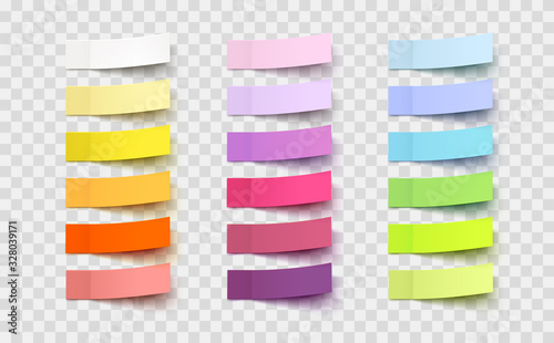 Obraz Post note stickers isolated on transparent background. Vector colorful paper sticky tapes set with shadow template.. - fototapety do salonu