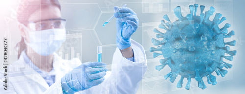 Fototapeta viral microorganism and lab technician holding a test-tube
