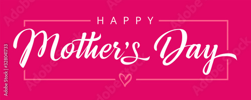 Obraz Happy Mothers Day calligraphy pink banner. Vector typography decoration for Mother's day or sale shopping special offer poster. Best Mom ever greeting card - fototapety do salonu