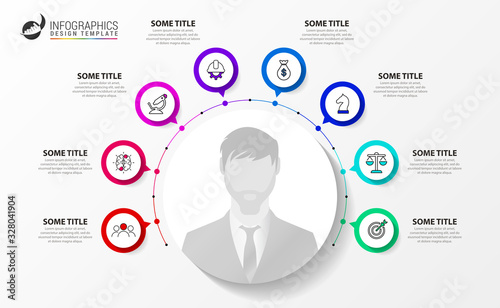 Infographic design template. Creative concept with 8 steps Wallpaper Mural