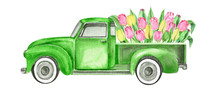 Watercolor Retro Truck With Fl...
