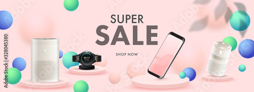 Super Sale Header or Banner Design with 3D Smartphone, Smart Watch, Voice Assistant, Air Purifier and Sphere Decorated Pastel Pink Background Canvas Print