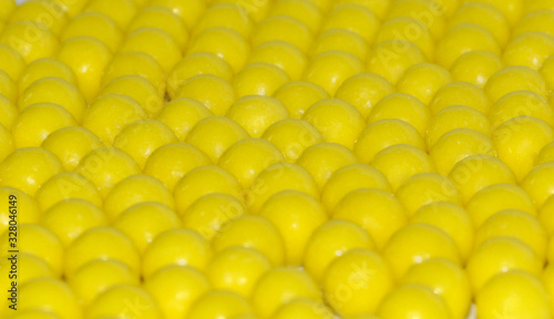Selective focus of yellow round dragees of ascorbic acid vitamin C Canvas Print