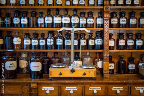 Old drug store, pharmacy museum in Wroclaw, Poland Canvas Print