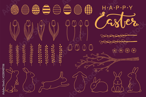Collection of gold decorative elements with rabbits, eggs, tree branch, tulips, text, flowers, grass, willow catkins for Easter designs Canvas Print