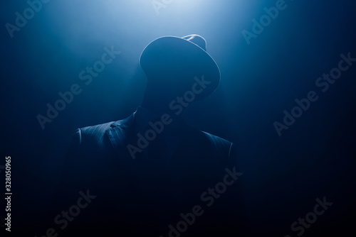 Obraz Silhouette of dangerous gangster in suit and felt hat on dark background - fototapety do salonu