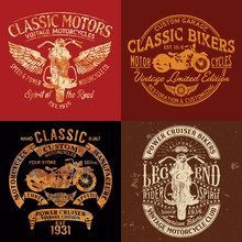 Classic Vintage Motorcycle Club Vector Print Collection  For Boy T Shirt Grunge Effect In Separate Layer