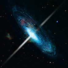 Pulsar Space Galaxy. 3d Illustration