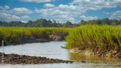 Canvas Print An oyster bed on a channel near a salt water wetland marsh