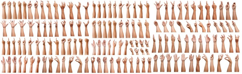 SUPER SET of Male asian hand gestures isolated over the white background. Grab with five fingers Action. sexual sign. Masturbation.Pointing Visual Touch Action.