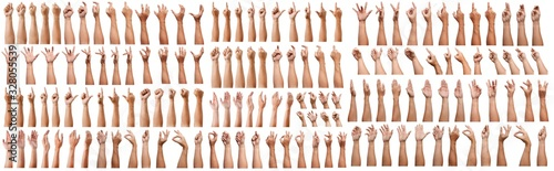 Obraz SUPER SET of Male asian hand gestures isolated over the white background. Grab with five fingers Action. sexual sign. Masturbation.Pointing Visual Touch Action. - fototapety do salonu