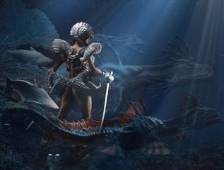 Underwater fantasy girl a dragon queen mixed media