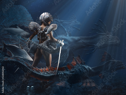 Obraz Underwater fantasy girl a dragon queen mixed media - fototapety do salonu
