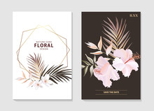 Botanical Floral Set With Wild  Hibiscus Flower, Tender Palm Leaves, Plumeria Bloom And Geometric Gold Shape. Anniversary Brochure, Wedding Invite, Nature Arrangement Banner, Summer Poster. Vector