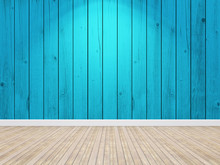 Wood Blue Planks Wall And Floo...