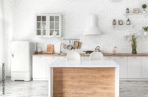 Modern stylish Scandinavian kitchen interior with kitchen accessories Wallpaper Mural