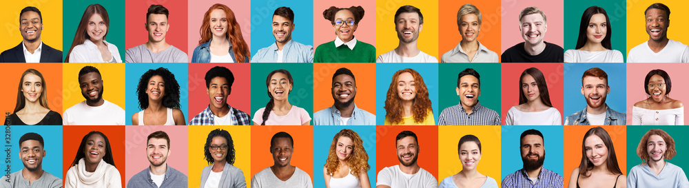 Fototapeta Collage Of Diverse People Portraits On Colorful Backgrounds, Panorama