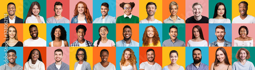 Fotografiet Collage Of Diverse People Portraits On Colorful Backgrounds, Panorama