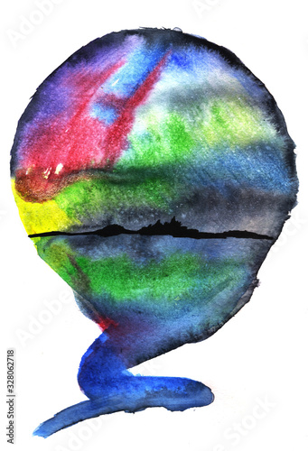 round watercolor drawing landscape nature, Canvas-taulu