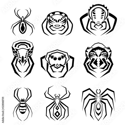 Photo A set of nine icons in the form of spiders in different poses.