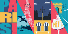 France Vector Skyline Illustration, Postcard. Travel To French Capital Paris Modern Flat Graphic Design