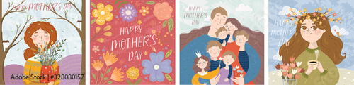 Obraz Happy mother's day! Vector illustration of mom with flowers, floral frame with text and cute family hugging. Drawing for card, postcard or background. - fototapety do salonu