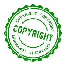 Grunge Green Copyright Word Round Rubber Seal Stamp On White Background