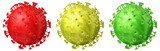 Set of coronaviruses in red, green and yellow colors, isolated on white background
