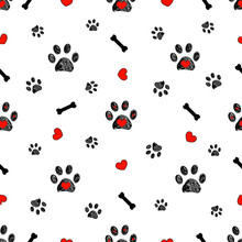 Doodle Black Paw Prints, Bone With Red Heart Vector Seamless Pattern For Fabric Design