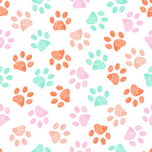 Doodle Paw Prints Pink, Orange...