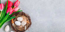 Easter Eggs In The Nest With P...