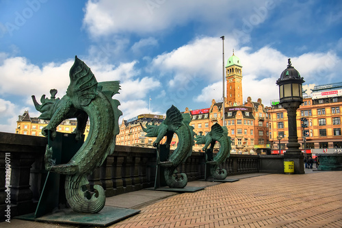 Fényképezés Bronze chimera Dragon figures statues in front of the Copenhagen City Hall, Denmark
