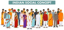 Family And Social Concept. Group Indian People Standing Together In Different Traditional Clothes On White Background In Flat Style. Vector Illustration.