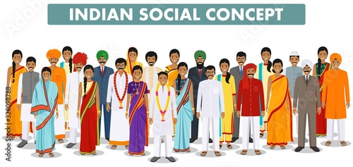 Fototapeta Family and social concept. Group indian people standing together in different traditional clothes on white background in flat style. Vector illustration. obraz