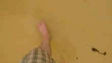 Caucasian Man's Foot Walking On The Beach, High Eagle, Real Time.