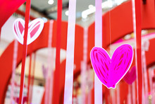 Red Paper Hearts In The Valent...