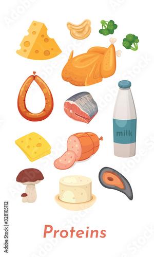 Protein food set Wallpaper Mural