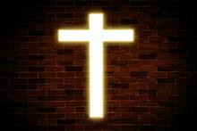 Gold Neon Glowing Church Cross...