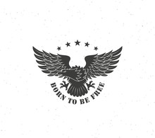 Black And White Eagle With Text And Stars On A White Background With Grunge Texture. Vector Illustration On The Theme Of Freedom. Eagle Is A Symbol Of The United States Of America.