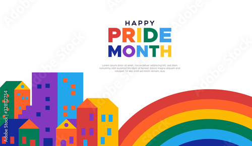 Fotografía Happy pride month illustration of colorful rainbow city for gay rights event or celebration