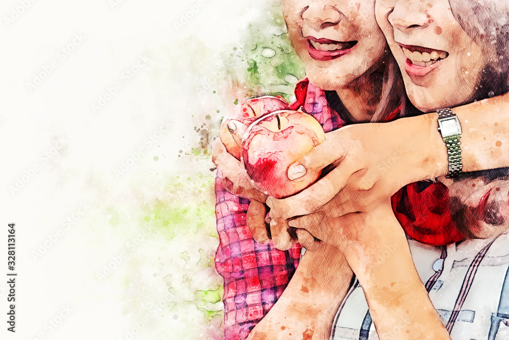 Abstract colorful Asia mother and daughter holding and eating apples fruit on watercolor illustration painting background.
