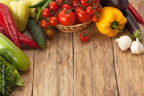 Fototapeta Fresh and ripe vegetables.Healthy vegan food. obraz na płótnie